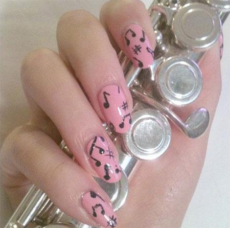 Pink Base Nails With Black Music Notes Nail Art Design Idea - 50+ Best Music Nail Art Design Ideas
