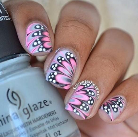 Pink Erfly Wings Nail Art Design Idea