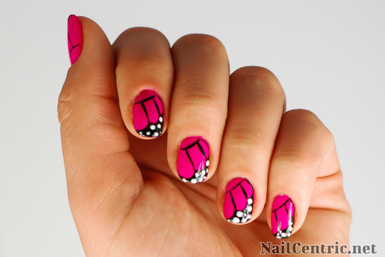 41 most stylish butterfly nail art designs pink glossy butterfly nail art design idea prinsesfo Gallery