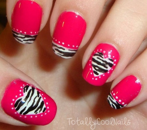 Pink Nails With Black And White Zebra Print Stripes Heart Nail Art - 50+ Best Hearts Nail Art Design Ideas