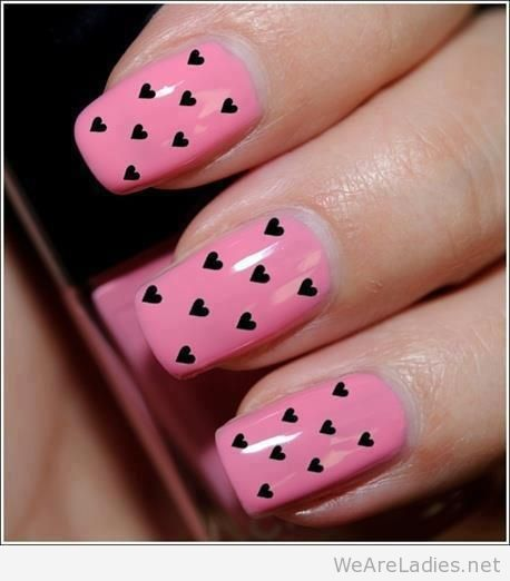 Pink Nails With Black Hearts Nail Art Design
