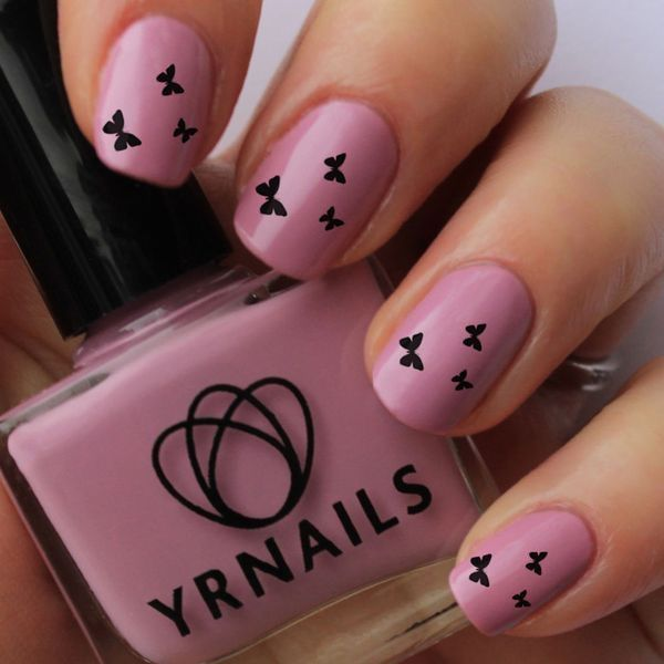 Small nail art design image collections nail art and nail design 60 most beautiful butterfly nail art design ideas pink nails with black small butterflies nail art prinsesfo Images