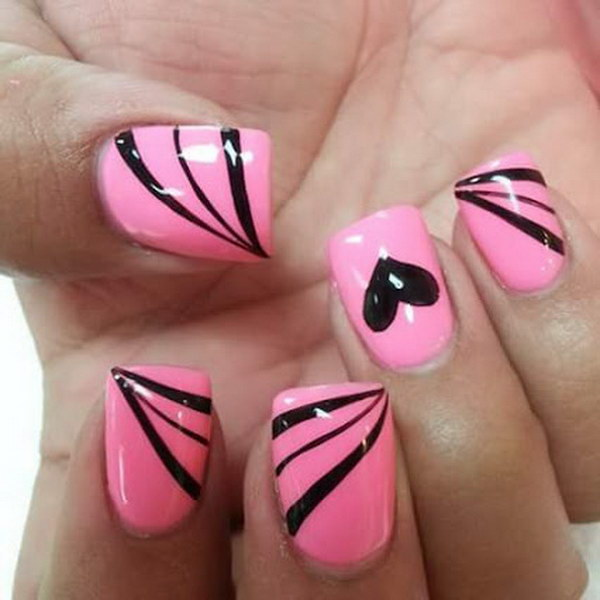 Pink nails with black stripes and heart nail art design idea prinsesfo Gallery