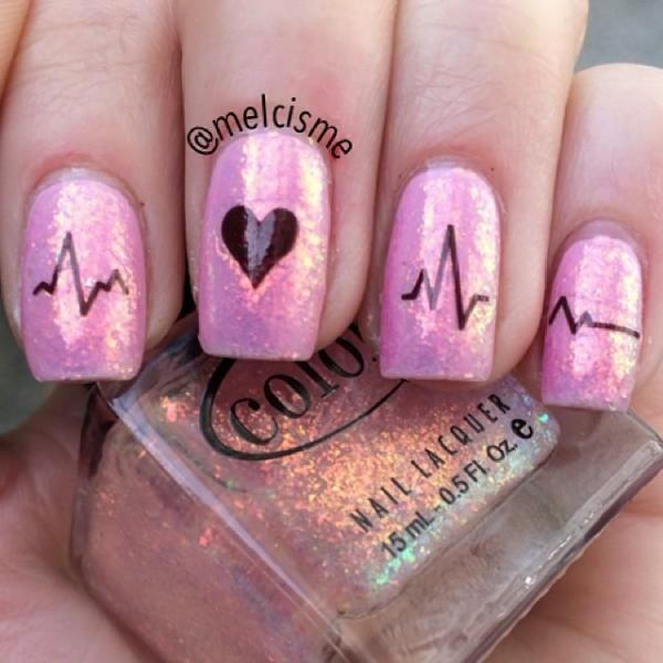 Pink Nails With Heartbeat Nail Art