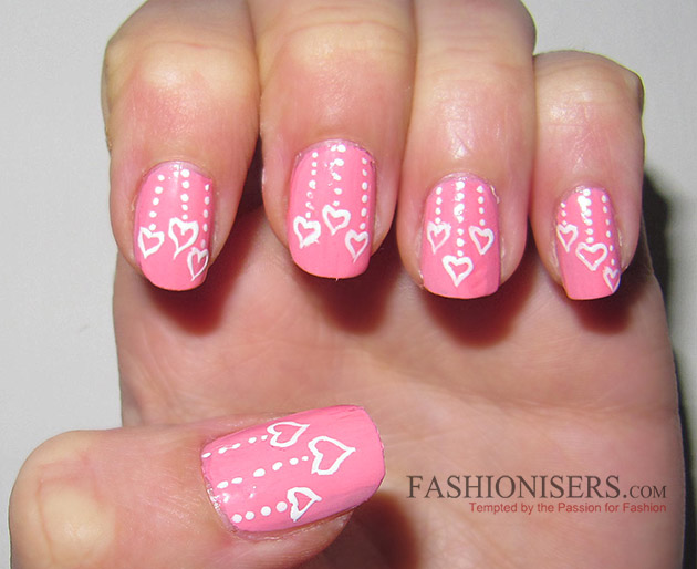 Pink Nails With White Heart And Dots Design Nail Art