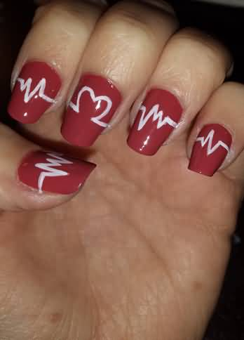 Glitter Gel Nails With White Heartbeat And Pink Heart Nail Art ...