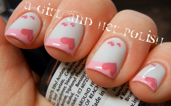 Pink Tip Hearts And White Nail Art Idea