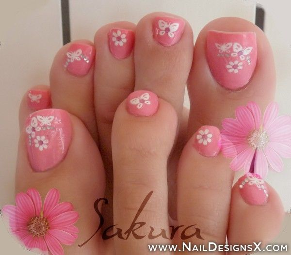27 most wonderful butterfly nail art for toe nails pink toe nails with white butterflies nail art prinsesfo Choice Image