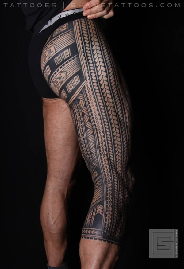 54 incredible samoan tattoos collection for Polynesian thigh tattoo