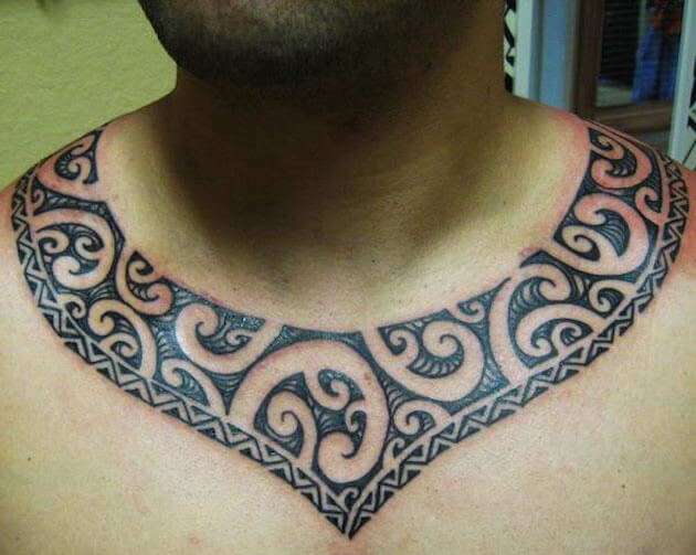 Polynesian tribal necklace tattoo for Necklace tattoo designs