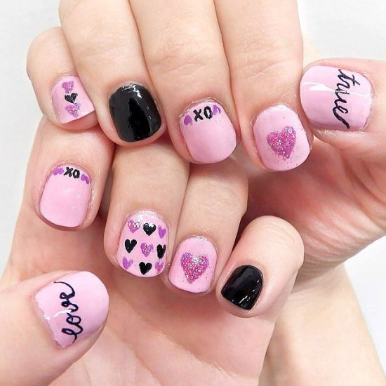 - Purple Glitter Gel And Black Hearts Nail Art