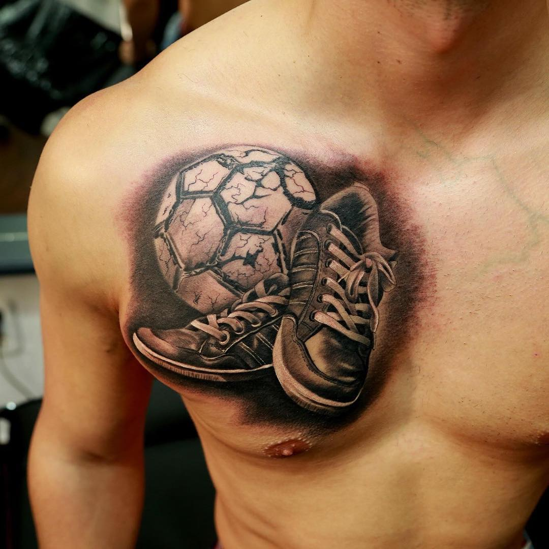Complete Realistic Football With Shoes Tattoo On Right Chest For Men