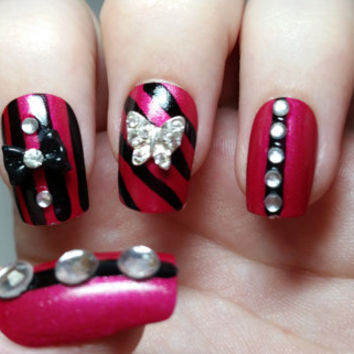 Red And Black Stripes Nails With 3D Metallic Butterfly Nail Art