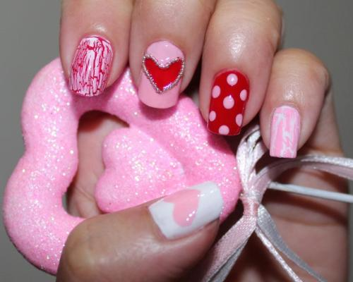 60 latest red heart nail art design ideas red and pink hearts and polka dots nail art prinsesfo Images