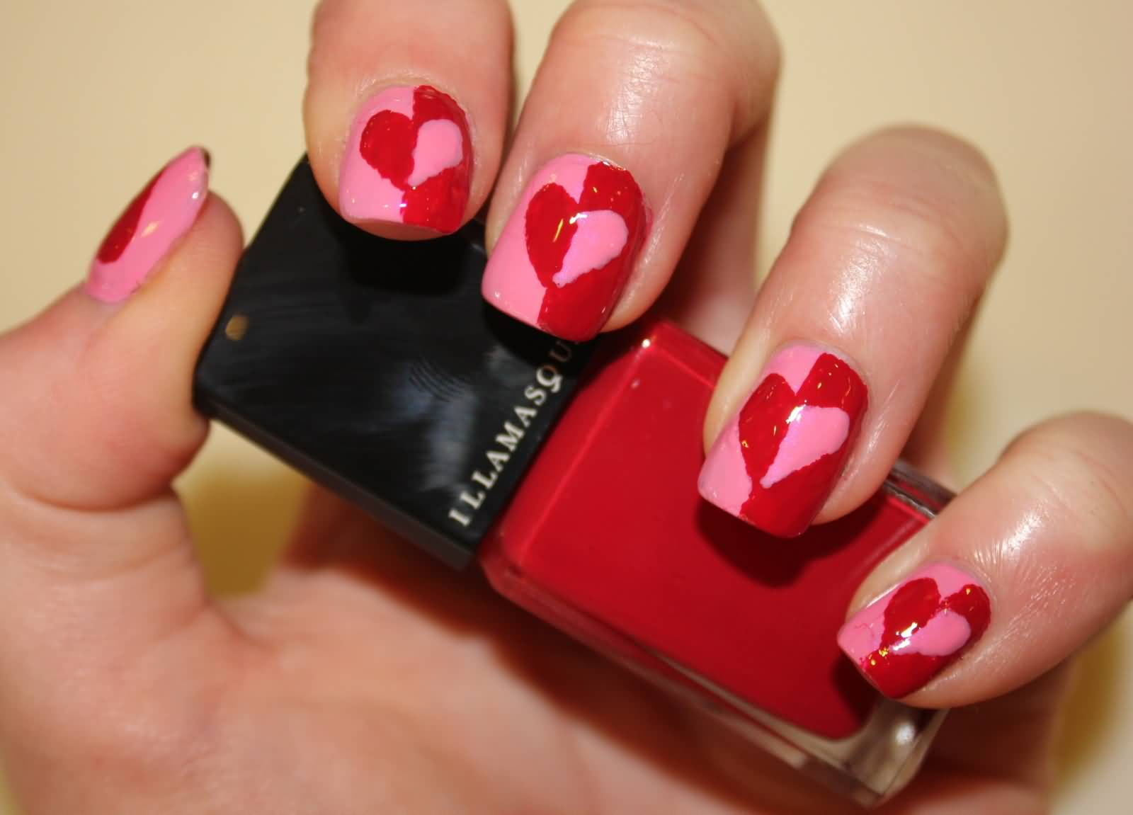 Red And Pink Hearts Nail Art Idea