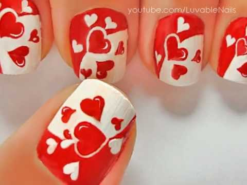 Red And White Hearts Nail Art Design