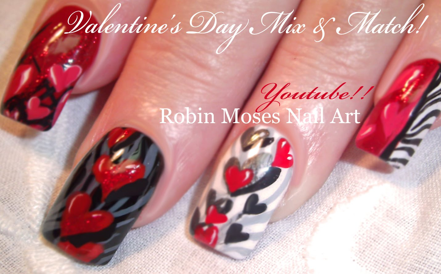 Red Hearts And Zebra Print Nail Art With Tutorial Video