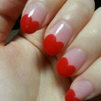 Red Hearts French Tip Nail Art