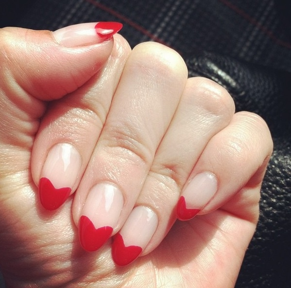 Beautiful Red French Tip Heart Nail Design Idea