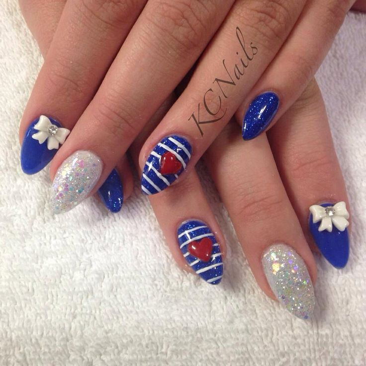 Royal Blue Nails With White Stripes And 3D Red Heart Nail Art - 60+ Latest - Red White Blue Nail Designs Graham Reid
