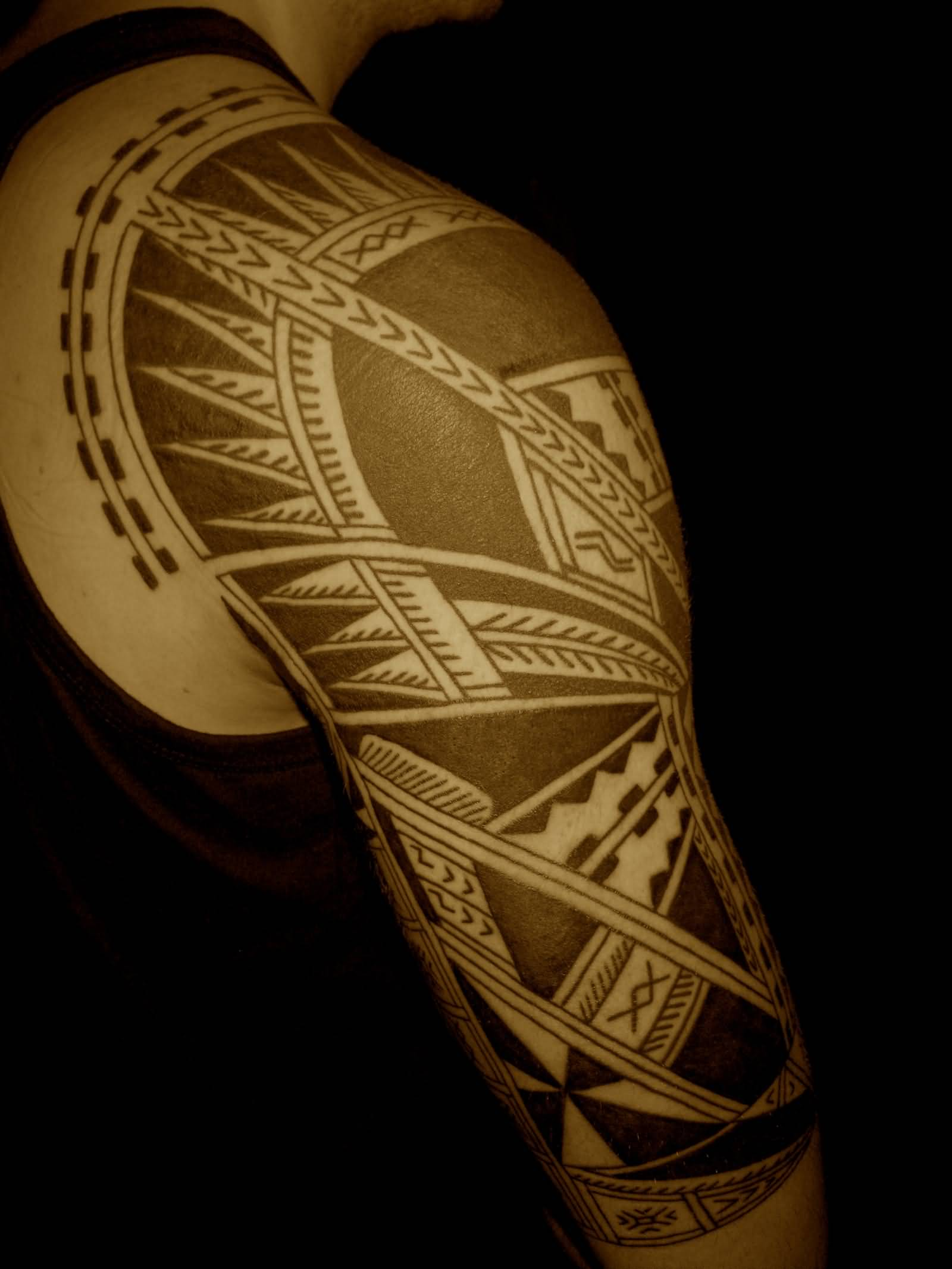 samoan tattoo on right half sleeve and shoulder. Black Bedroom Furniture Sets. Home Design Ideas