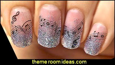 42 latest music nail art design ideas silver glitter and black music nail art prinsesfo Image collections