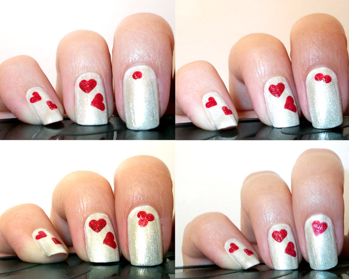 Silver Nails With Red Hearts Nail Art Idea - 45+ Latest Heart Nail Art Designs For Trendy Girls