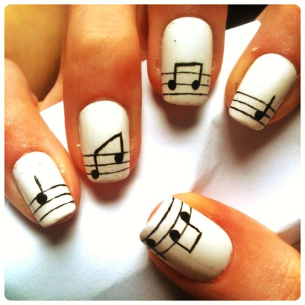 Simple Music Nail Art Design Idea - 50+ Best Music Nail Art Design Ideas