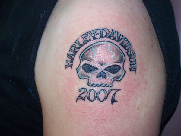 52 awesome harley tattoos for Harley skull tattoos