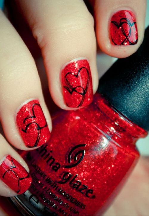 60+ Latest Red Heart Nail Art Design Ideas