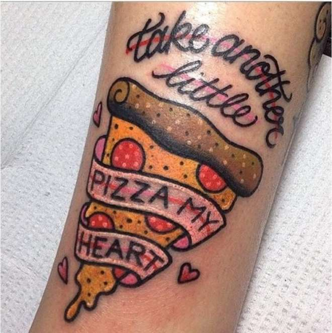 Take Another Little Pizza Slice Traditional Tattoo