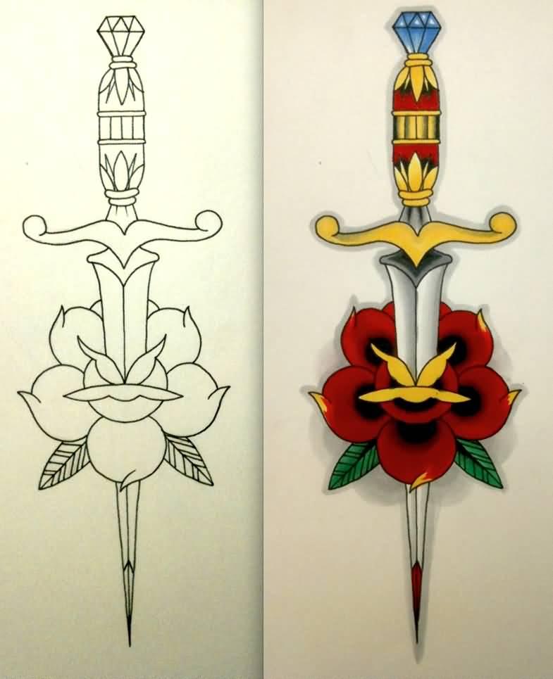 American traditional dagger tattoo designs