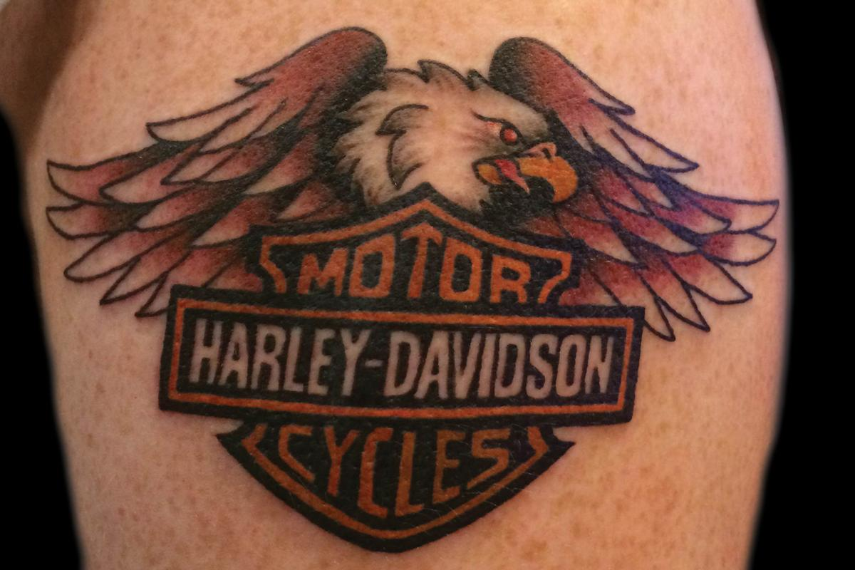 52 awesome harley tattoos rh askideas com harley davidson eagle wings tattoos harley davidson american eagle tattoos