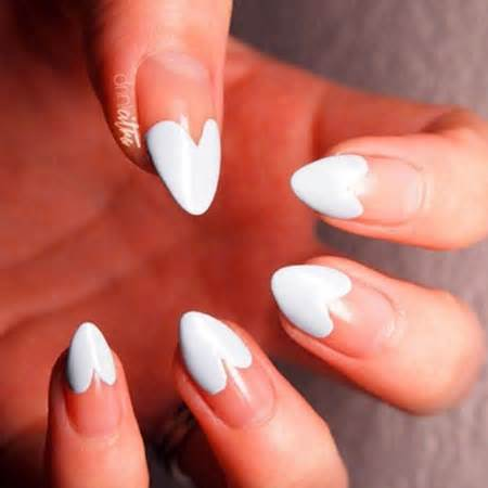 White french tip hearts nail art idea