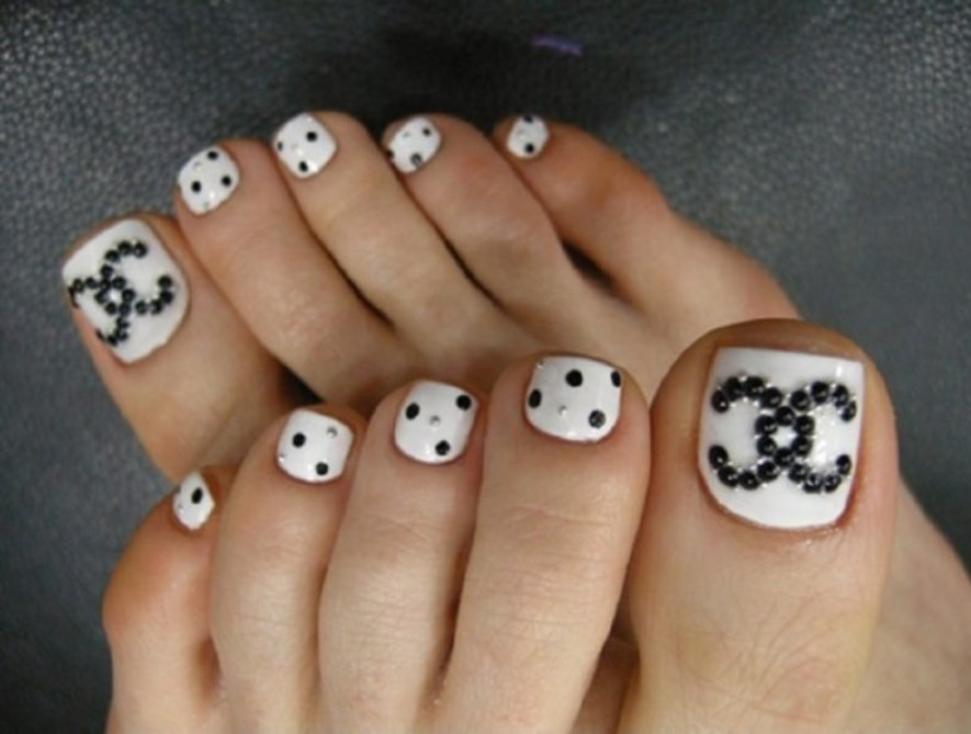 60 stylish black and white nail art designs for toe nails white nails with black caviar beads design nail art prinsesfo Images