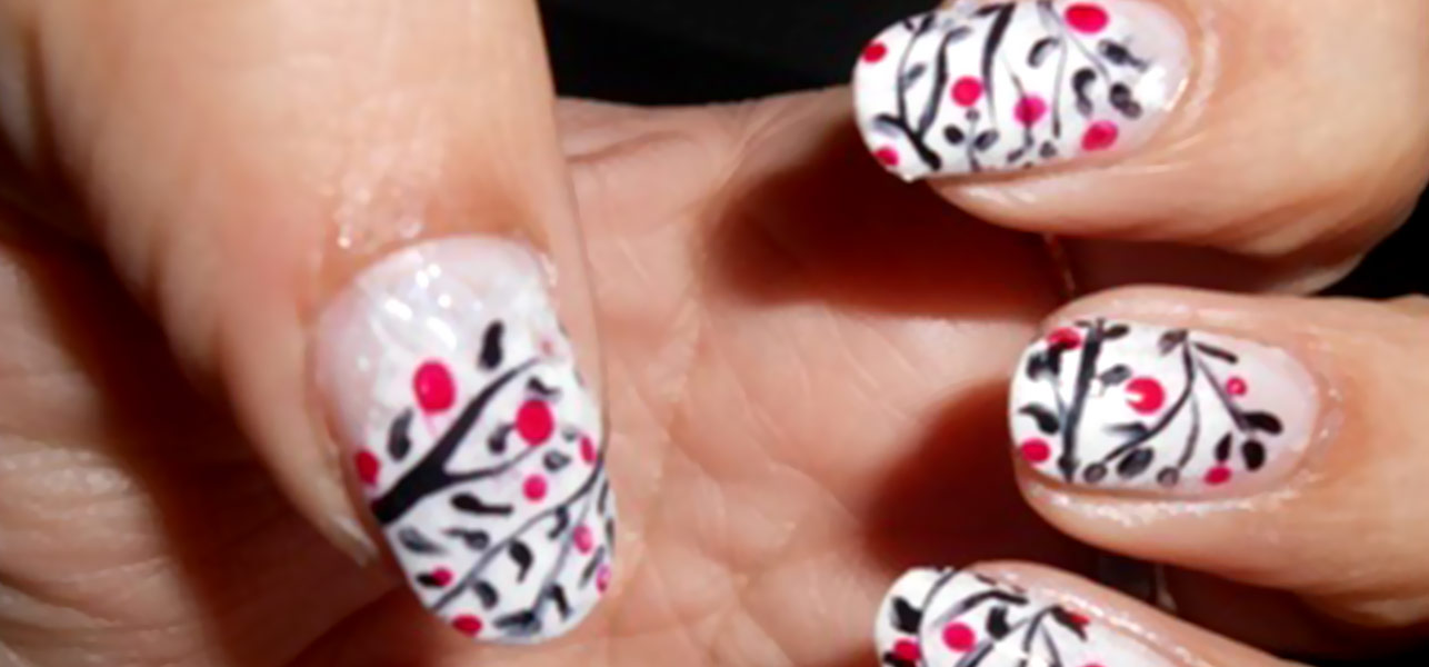 White Nails With Black Flowers And Pink Dots Design Nail Art Idea