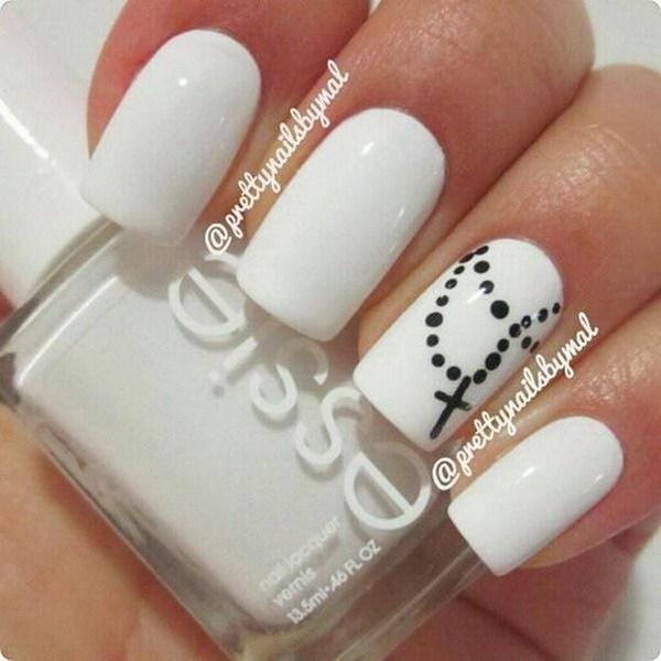 Nail art black cross : White nails with black rosary and cross design nail art