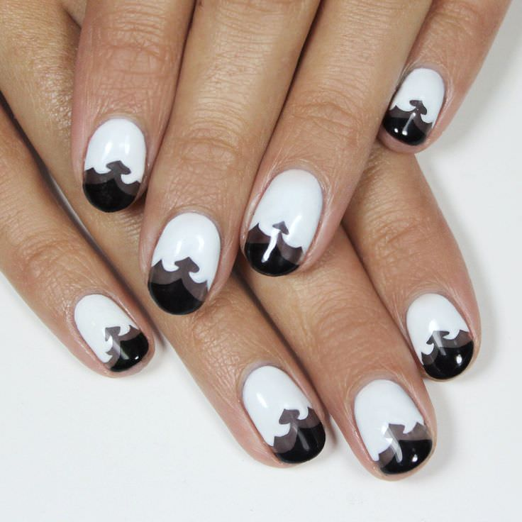 white nails with black tip design nail art - Nail Tip Designs Ideas