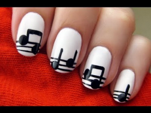 60 latest black and white nail art design ideas white nails with musical notes design nail art idea prinsesfo Choice Image