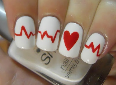 60 best heartbeat nail art design ideas white nails with red heartbeat nail art prinsesfo Choice Image