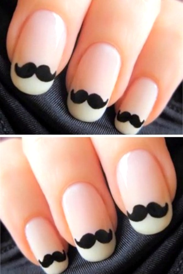 50 most beautiful black and white nail art designs white tip nails with black mustache design nail art idea prinsesfo Image collections