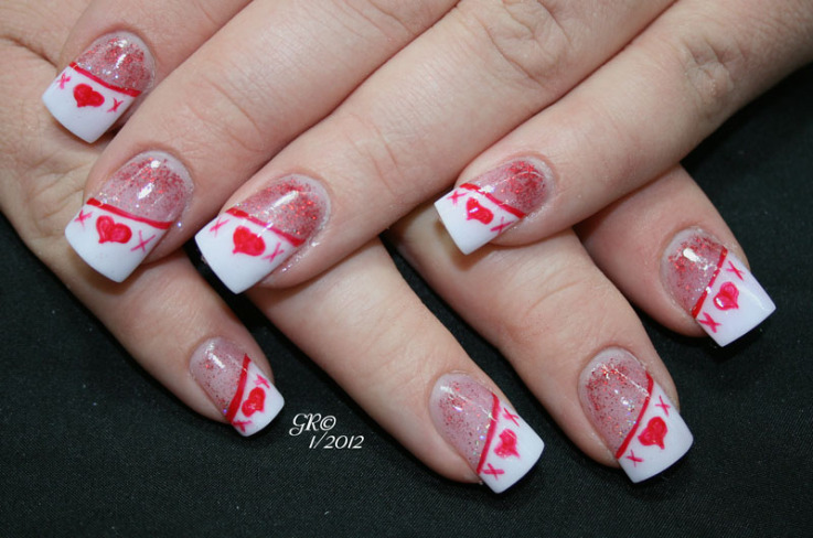 White Tip Nails With Pink Heart Nail Art Idea. 50 valentines day ... - Image Source. 1000 Images About Valentines Day Nail Art Designs On