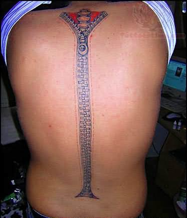 7 spine zipper tattoos. Black Bedroom Furniture Sets. Home Design Ideas