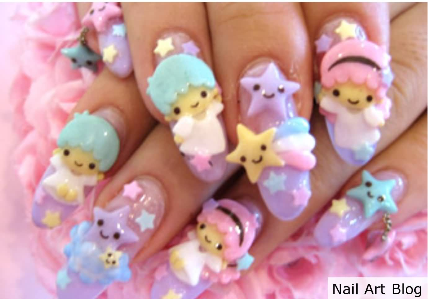3D Angels Japanese Nail Art Design