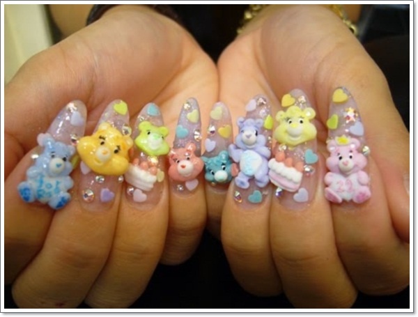 - 3D Care Bears Japanese Nail Art Design Idea