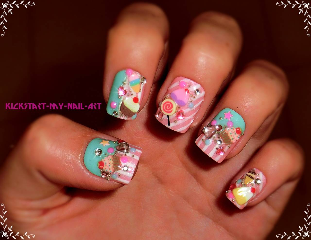 3D Ice Creams Japanese Nail Art Design Idea