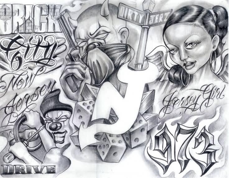 a0bb3746ec6b9 Amazing Grey Ink Gangsta Tattoo Design