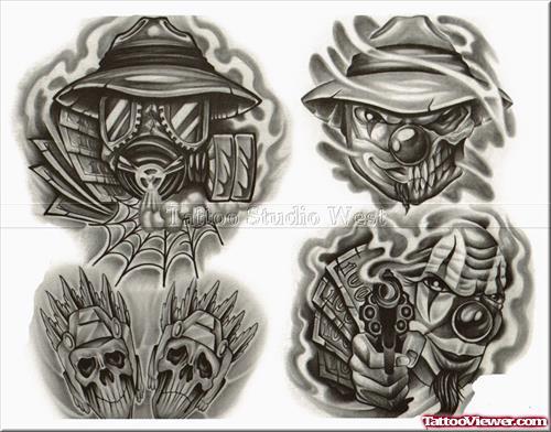 ed8c795fe60b1 Amazing Grey Ink Gangsta Tattoo Stencil Set