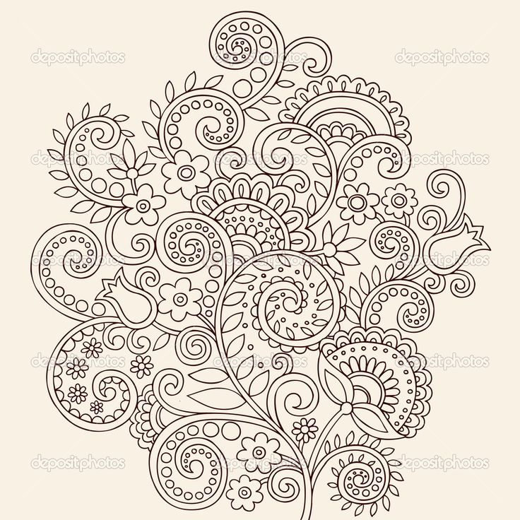 7a18a1e5560cd Attractive Paisely Flowers Pattern Tattoo Stencil