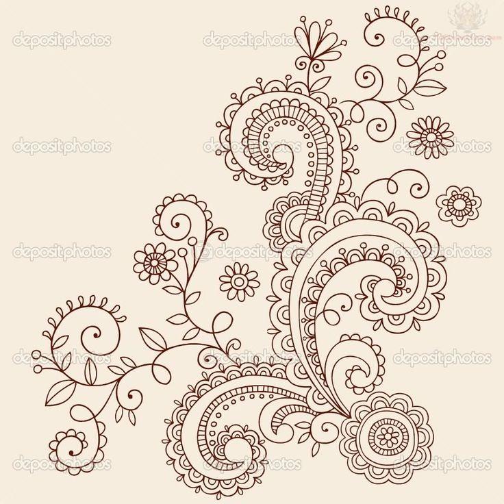 8b0defd2343d0 Attractive Paisley Pattern Henna Mehndi Tattoo Stencil
